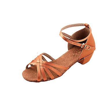 baratos Shall We® Sapatos de Dança-Mulheres Sapatos de Dança Cetim Sapatos de Dança Latina / Dança de Salão Sandália Salto Baixo Não Personalizável Bronze / Crianças / Camurça / EU39