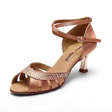 Women's Latin Satin Sandal Heel Crystal Chunky Heel Black Khaki 4