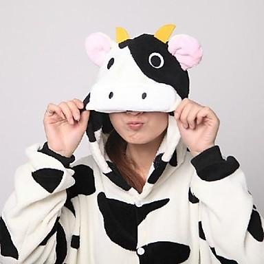 Pijama Kigurumi cu Papuci Lapte de Vacă Pijama Întreagă Costume Coral Fleece Negru/Alb Cosplay Pentru Sleepwear Pentru Animale Desen