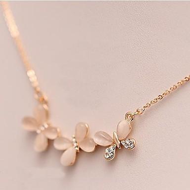 Damen Schmetterling Blume Opal  -  Tier Modische Halsketten Für Alltag