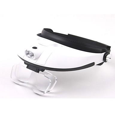 voordelige Handgereedschap-multiple lens in twee richtingen regulering head-dragen vergrootglas met 2-LED-licht (3 x AAA)