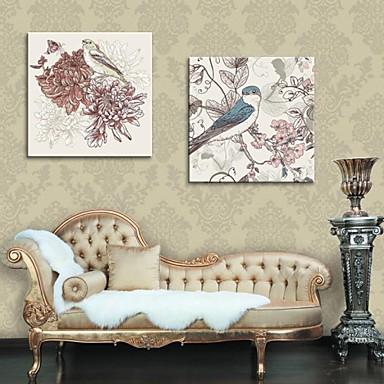 art pânză întinsă flori pictura decorativa și păsări set de 2