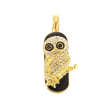 zp 64gb schattige gouden uil patroon bling diamant metalen stijl usb flash drive