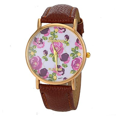 Damen Halskettenuhr Armbanduhren für den Alltag PU Band Blume / Retro Schwarz / Weiß / Blau