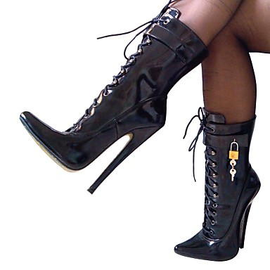 Pantofi pentru femei - Imitație de Piele - Toc Stiletto - Tocuri / Vârf Ascuțit - Cizme - Party & Seară - Negru / Alb