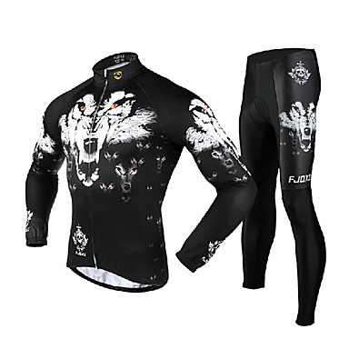36792608b FJQXZ Men s Long Sleeve Cycling Jersey with Tights - White Bike Clothing  Suit Thermal   Warm