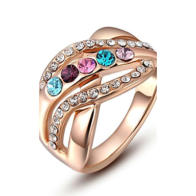 Dame Inele Afirmatoare Plin de Culoare Cristal Placat Auriu Diamante Artificiale Bijuterii Pentru Nuntă Petrecere Zilnic Casual