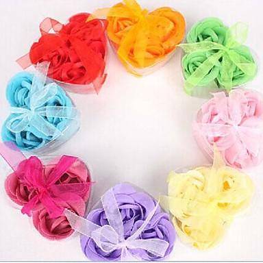 ferie gaver tre romantiske hjerteformede rose såpe blomster (tilfeldig farge)
