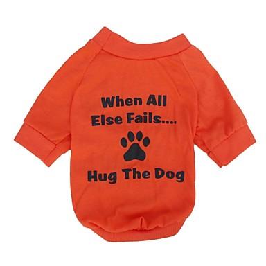Кошка Собака Футболка Одежда для собак Буквы и цифры Оранжевый Хлопок Костюм Для домашних животных