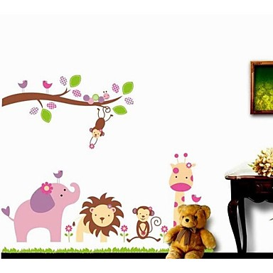 Zooyoo removable beautiful cute branch and animals wall - Beautiful wall stickers for living room ...