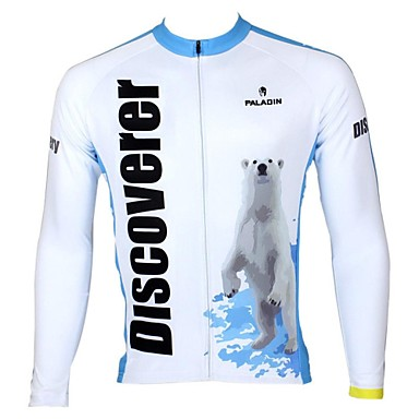 ILPALADINO Men s Long Sleeve Cycling Jersey - White+Sky Blue Stripe Bike  Jersey Top 9f8604dcb