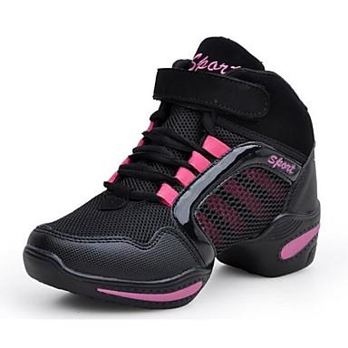 Damă Pantofi Dans Sală Dans Sintetic Adidași Toc Jos Negru și Roșu Negru și aur 5cm NePersonalizabili