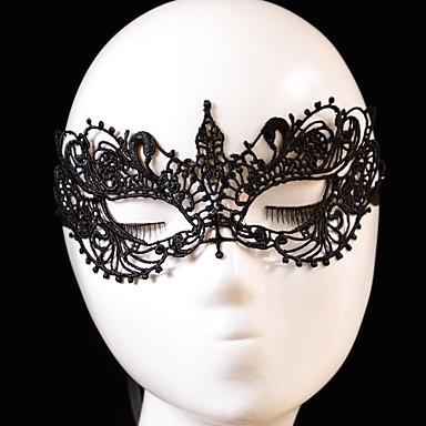 Карнавал Маски Муж. Жен. Хэллоуин Фестиваль / праздник Костюмы на Хэллоуин Черный Однотонный Кружева
