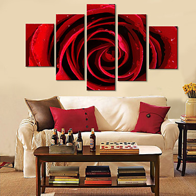 Intinsa Canvas Art Floral Red Rose Set de 5
