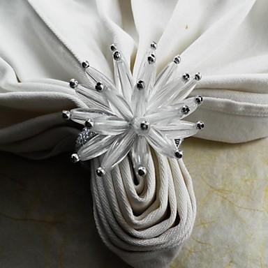 acril inel servetel floare, acrilic, de 4,5 cm, set de 12