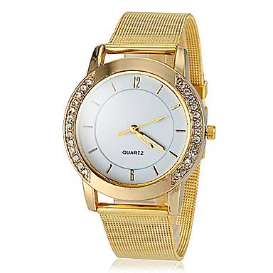 Damen Quartz Armbanduhr Imitation Diamant Legierung Band Glanz Simulierte Diamant-Uhr Modisch Gold