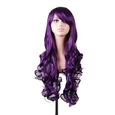 femei noi lung ondulat de culoare închisă Cosplay violet peruci par anime