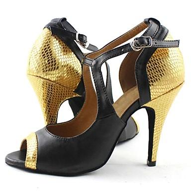 Pentru femei Pantofi Dans Latin Imitație de Piele Sandale Cataramă Toc Stilat NePersonalizabili Pantofi de dans Negru și aur