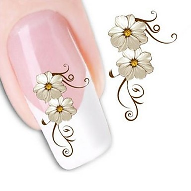 1 Neglekunst Klistermærke Vandoverførings klistermærke Blomst Makeup Kosmetik Neglekunst Design