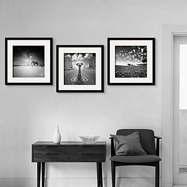 Ζώα Pânză Înrămată / Set Înrămat Wall Art,PVC Negru Rogojină Inclusă cu Frame Wall Art