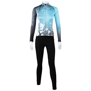 ILPALADINO Pentru femei Manșon Lung Jerseu Cycling cu Mâneci - Albastru Floral / Botanic Bicicletă Set de Îmbrăcăminte, Uscare rapidă,