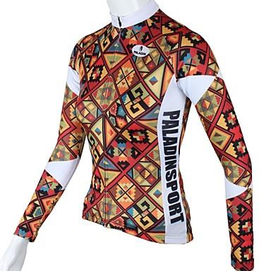 ILPALADINO Pentru femei Manșon Lung Jerseu Cycling - Rosu Floral / Botanic Bicicletă Jerseu, Uscare rapidă, Respirabil