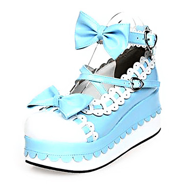 Schuhe Niedlich Prinzessin Plattform Schuhe Schleife 7 CM Blau Rosa Für PU - Leder/Polyurethan Leder