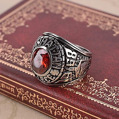 Herre Rubin / Syntetisk Ruby Statement Ring / Ring - Kors Vintage, Fritid, Europeisk Rød Til