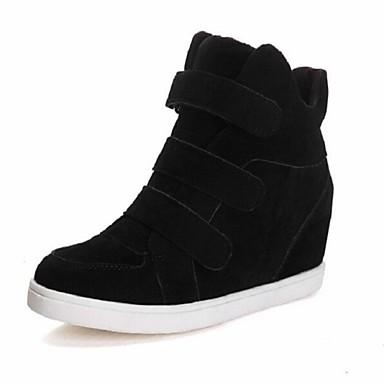 Pentru femei Pantofi Piele de Căprioară Imitație Iarnă Toamnă Toc Platformă Bandă Magică pentru Casual Negru Roșu