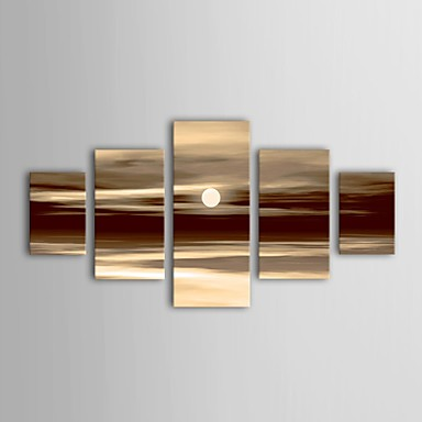 Ручная роспись Пейзаж Любые формы холст Hang-роспись маслом Украшение дома 5 панелей