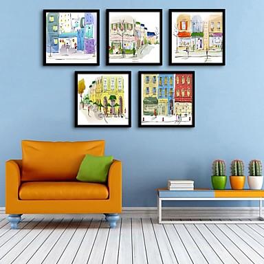 Недорогие Картины в рамах-Холст в раме Набор в раме - Архитектура ПВХ Иллюстрации Предметы искусства