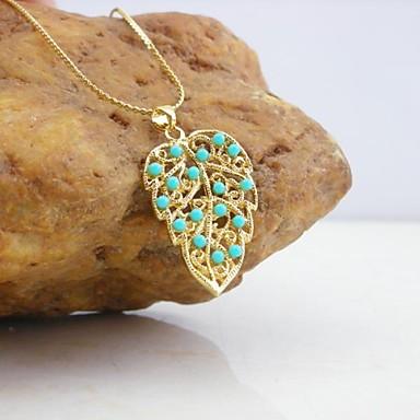 Placat cu aur de 18k turcoaz / perla pandantiv frunze