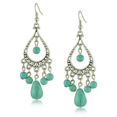 chique unieke Tibetaans zilver holle ontwerp turquoise oorbellen
