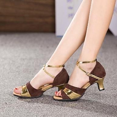 Damen Schuhe für den lateinamerikanischen Tanz Leder / Wildleder Sandalen Schnalle Kubanischer Absatz Keine Maßfertigung möglich Tanzschuhe Silber / Braun / Gold