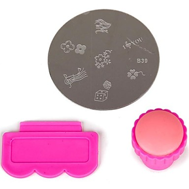 3PCS Nail Art Stamping Image Plates Manicure Plates Set within 1PC Nail Art Scraper and Stamper(Random Image Plate)