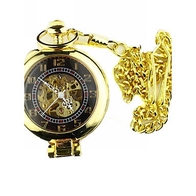 Erkek Cep kol saati mekanik izle Mekanik manual-hareketli Derin Oyma Alaşım Bant Eski Tip Lüks Altın Rengi Altın