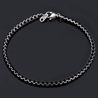 baratos Pulseira de Corrente-Mulheres Pulseiras em Correntes e Ligações Bracelete Aço Inoxidável Pulseira de jóias Preto Para Casamento Festa Diário Casual Esportes