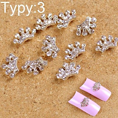 10PCS 3D Alloy Manicure Jewelry Shining Cute With Drill Small Crown Nail Art Decorations