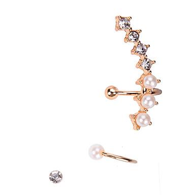Damen Perle Künstliche Perle Strass Ohr-Stulpen - Ohrringe Für Hochzeit Party Alltag