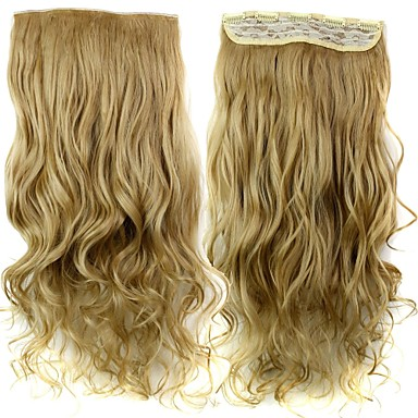 24 Inch 120g Long Heat Resistant Synthetic Fiber Sandy Blonde Curly Clip In Hair Extensions with 5 Clips