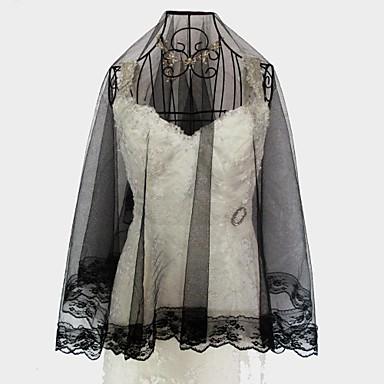 One-tier Lace Applique Edge Wedding Veil Fingertip Veils 53 57.09 in (145cm) Lace