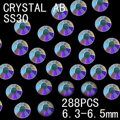 288Pcs 6.3-6.5mm AB Color Glitter Flatback Crystal Rhinestone Nail Art Decoration