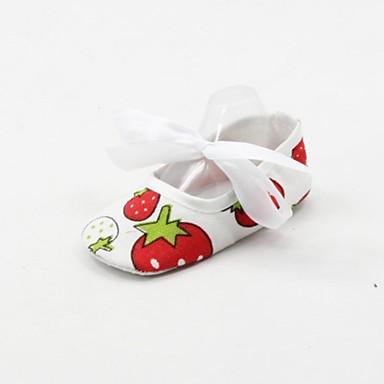 Meisjes Baby Platte schoenen Eerste schoentjes Weefsel Lente Herfst Causaal Eerste schoentjes Veters Platte hak Wit Onder 2,5cm