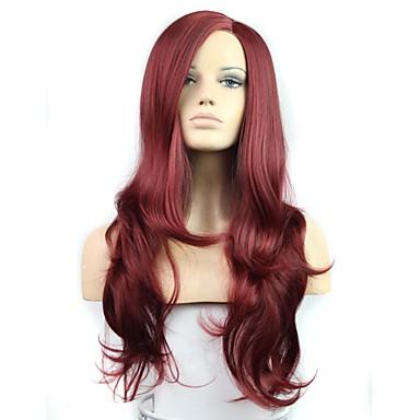 Uzun büyük dalga kadın moda yüksek sıcaklık lif sentetik peruk 28 inç