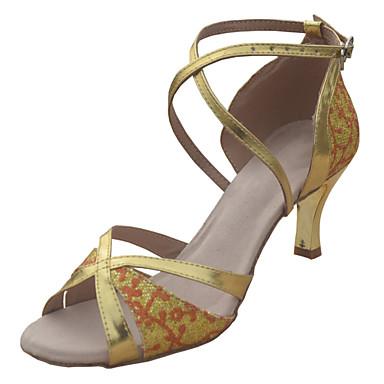 Pentru femei Pantofi Dans Latin / Sală Dans / Pantofi Salsa Paillertte / Imitație de Piele Sandale / Călcâi Cataramă Toc Stilat NePersonalizabili Pantofi de dans Negru / Argintiu / Auriu