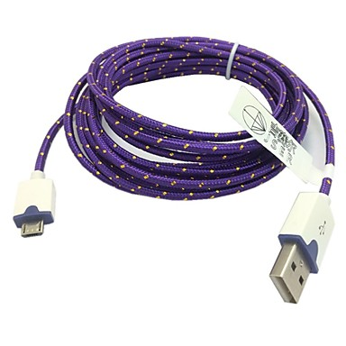 2m 6.6ft gevlochten micro usb-sync-kabel USB-oplader voor samsung s2 / s3 / s4 htc sony lg alle Android-telefoons (paars)