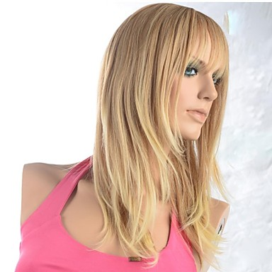 Synthetic Wig 120% Density Synthetic Hair Blonde Wig Women's Black Wig Party