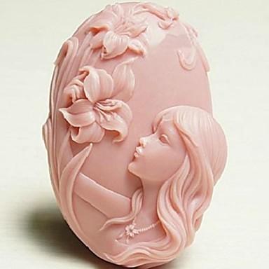 schönes Mädchen Blume geformt Fondantkuchen Schokoladensilikonform Kuchendekorationswerkzeuge, l10.2cm * w7.2cm * h3.3cm