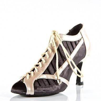 Női Modern cipők Szatén / Bőrutánzat Magassarkúk Fűző Tűsarok Szabványos méret Dance Shoes Fekete / Piros