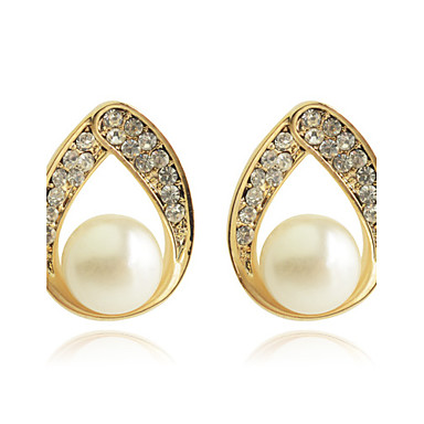 Women's Stud Earrings Drop Earrings Luxury Fashion Hollow Pearl Crystal Gold Plated Imitation Diamond Drop Jewelry Party Daily Casual